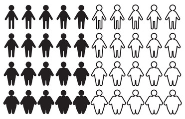 Vector People Pictograms with Thin to Fat Transformation