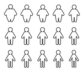 Vector People Pictograms with Fat to Thin Transformation