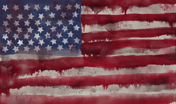 Grunge watercolor american flag with blood splatters and dirty texture.
