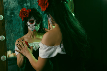 Halloween picture of female witch with makeup