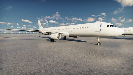 The plane is on the runway. 3D Rendering
