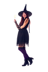 Picture of witch brunette with wine glass with wine in black dress