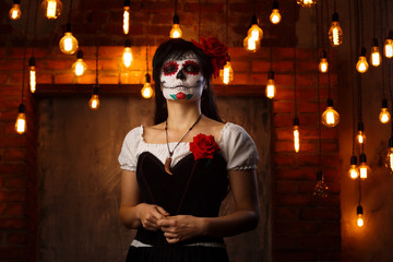 Halloween picture of woman with white make-up on her face