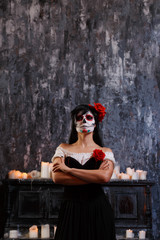 Halloween picture of woman with makeup and roses