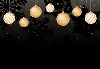 Christmas background with golden balls and black snowflakes. Vector.
