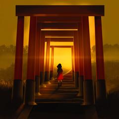 girl walking through famous tunnel lines of orange Torii column against sunset, digital illustration art painting design style.