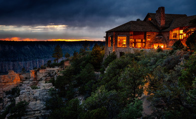 Grand Canyon North Rim Lodge after sunset