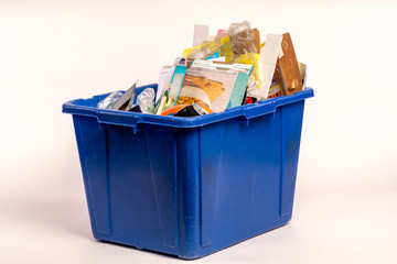 Recycle Container with cardboard, glass, plastic and other assorted
