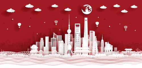 Fototapete - Panorama postcard and travel poster of world famous landmarks of Shanghai, China skyline in paper cut style vector illustration