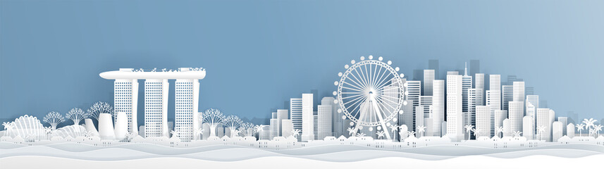 Fototapete - Panorama postcard of Singapore with world famous landmarks  in paper cut style vector illustration