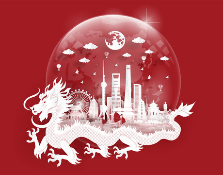 Shanghai landmarks with dragon in a glassball of world map in paper cut style vector illustration. Travel poster, post card and tour company.