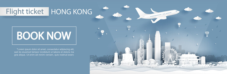 Flight and ticket advertising template with travel to Hong Kong concept with famous landmarks in paper cut style vector illustration