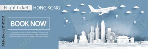 Fototapete Flight and ticket advertising template with travel to Hong Kong concept with famous landmarks in paper cut style vector illustration