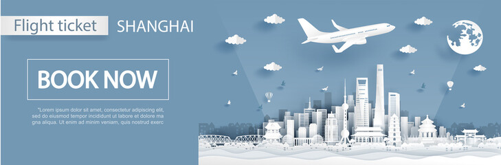 Wall Mural - Flight and ticket advertising template with travel to Shanghai concept with famous landmarks in paper cut style vector illustration