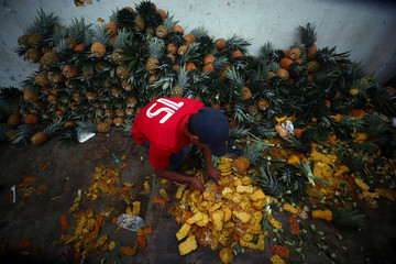 A migrant, part of a caravan of thousands traveling from Central America en route to the United States, cuts pineapple on the roadside whilst he rests in a makeshift camp in Isla