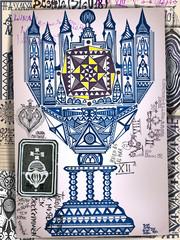 Asso di coppe dei tarocchi. Manoscritti, disegni e schizzi con segni e simboli esoterici,astrologici e alchemici