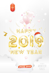 Sale Banner Happy new year 2019 with original gold shining font and super offer 70% Postcard with balloons in the form of hearts on background with ribbons. Flat vector illustration EPS10