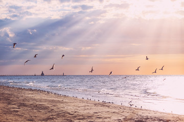 Beach background, rays of sunlight at sunset, Lake Michigan