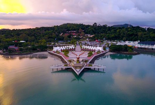 Aerial view of public Eagle statue, the symbol of Langkawi island, Malaysia.