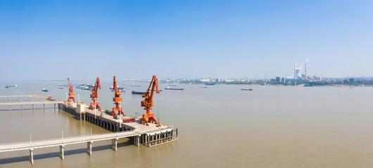 inland river modern cargo wharf panorama