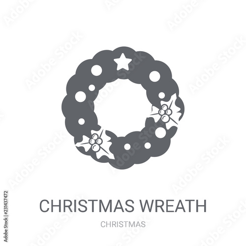 Christmas Wreath Icon Trendy Christmas Wreath Logo Concept On White