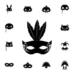 Carnival mask with feathers icon. Detailed set of carnival masks icons. Premium quality graphic design icon. One of the collection icons for websites, web design, mobile app