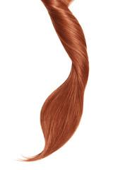 Henna hair, isolated on white background. Long beautiful ponytail