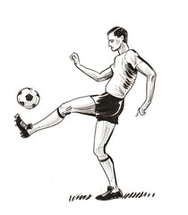 Soccer player with a ball. Ink black and white illustration