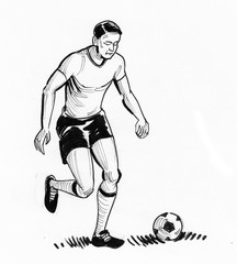 Soccer player with a ball. Ink black and white drawing