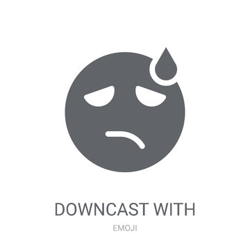 Downcast With Sweat emoji icon. Trendy Downcast With Sweat emoji logo concept on white background from Emoji collection