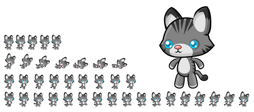 Animated Cat Game Character