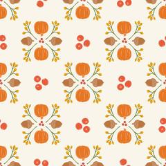 Seamless Vector Pumpkin, Acorn, Cranberry Damask in Bright Orange, Brown, Goldenrod, & Red