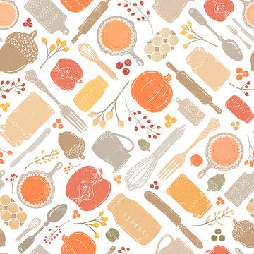 Seamless Vector Distressed Fall Baking Kitchen Pumpkin, & Acorn Geometric in Bright Autumn Colors