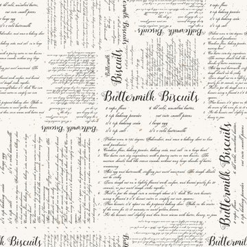 Seamless Vector Vintage Buttermilk Biscuits Textured Recipe Print in Charcoal with Aged Spots