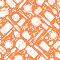 Seamless Vector Distressed Fall Baking Kitchen Utensil, Pumpkin, & Acorn Geometric Scatter in White & Orange