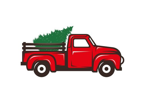 Antique red truck with christmas tree illustration, logo icon vector