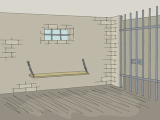 Prison jail interior graphic color sketch illustration vector