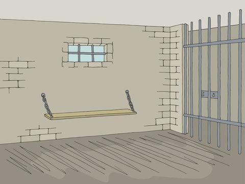 Prison jail interior graphic color sketch illustration vector