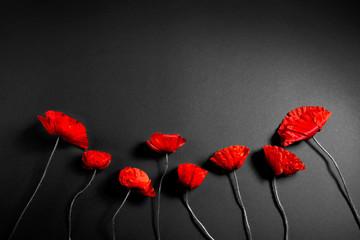 Fotobehang Poppy Red poppies on a dark background