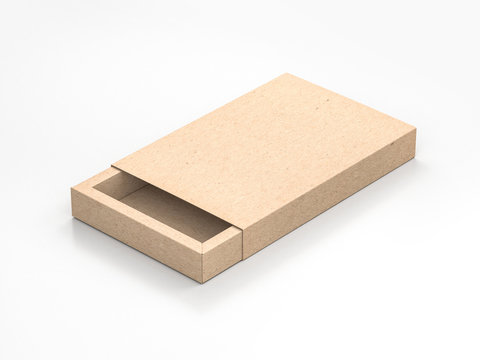 Cardboard sliding gift box Mockup on gray background