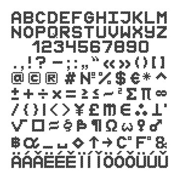 Pixel style font. 8 bit letters, numbers and symbol. Vector.