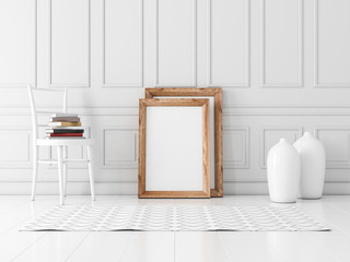 Vertical Wooden Frame poster Mockup standing on the floor