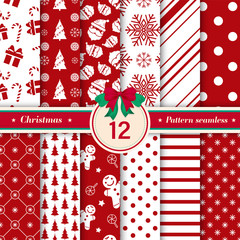 Türaufkleber Künstlich Merry Christmas pattern seamless collection. Set of 12 Xmas background red and white colors. Endless texture for gift wrap, wallpaper, web banner background, wrapping paper and Fabric patterns.