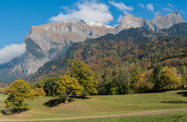 Wall Mural - fall color mountain landscape in the Maienfeld region of Switzerland with snowy peaks and colorful trees