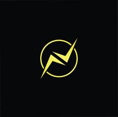 Initial letter N NO ON minimalist art logo, gold color on black background.