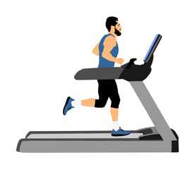 Sport man running on a treadmill in gym vector illustration. Boy on running track cardio training. Fitness man personal trainer workout. Exercise on simulator. Gymnastic activity indoor. Muscular guy.