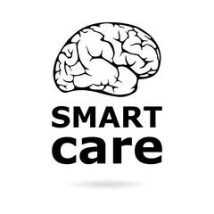 Black Smart care icon or logo, Anatomical design