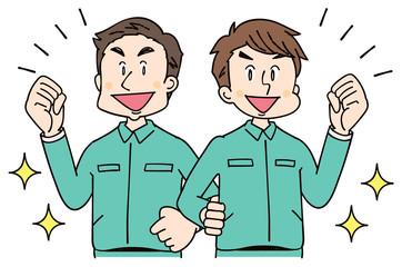 作業着を着た男性グループ