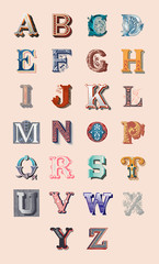 The Alphabet set of capital vintage letters