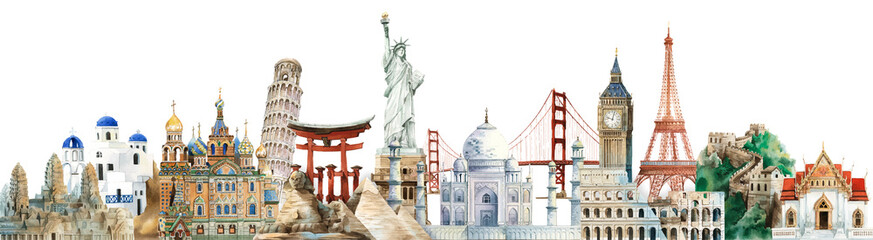 Collection of architectural landmarks painted by watercolor Fotobehang